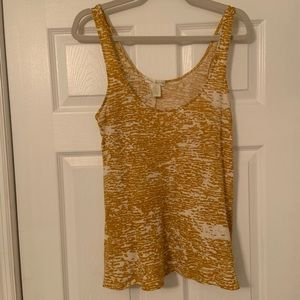 Urban Outfitters Yellow and Cream Patterned Tank